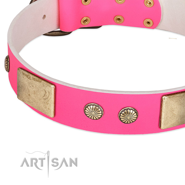 Durable fittings on full grain genuine leather dog collar for your doggie