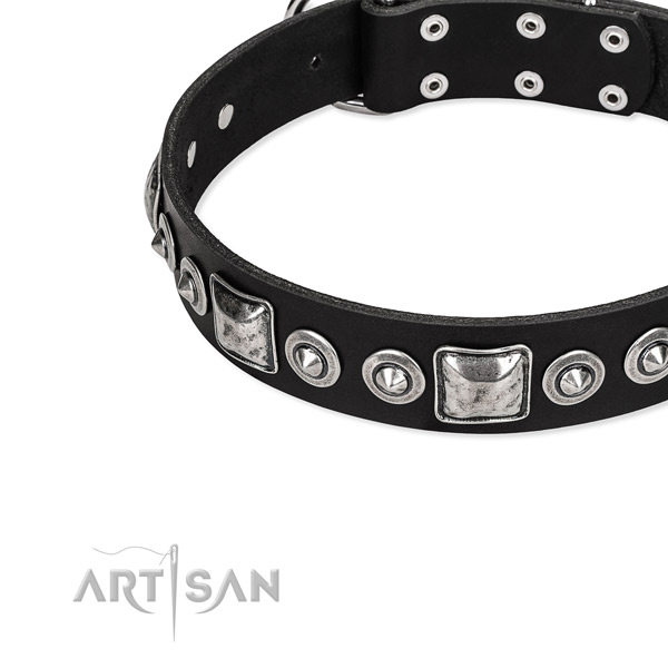 Natural genuine leather dog collar made of quality material with studs