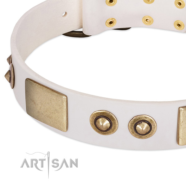 Reliable hardware on full grain leather dog collar for your doggie