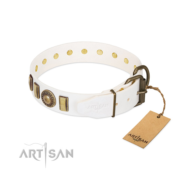 Gentle to touch full grain natural leather dog collar handmade for your pet