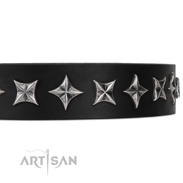 Handy use embellished dog collar of top quality leather