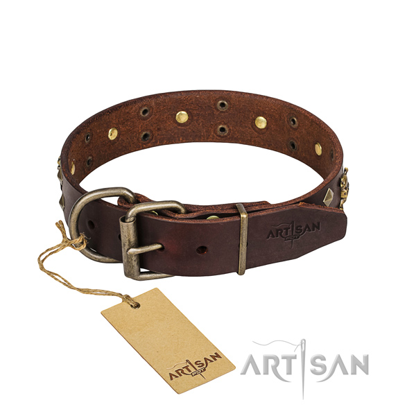 Basic training dog collar of strong full grain genuine leather with decorations