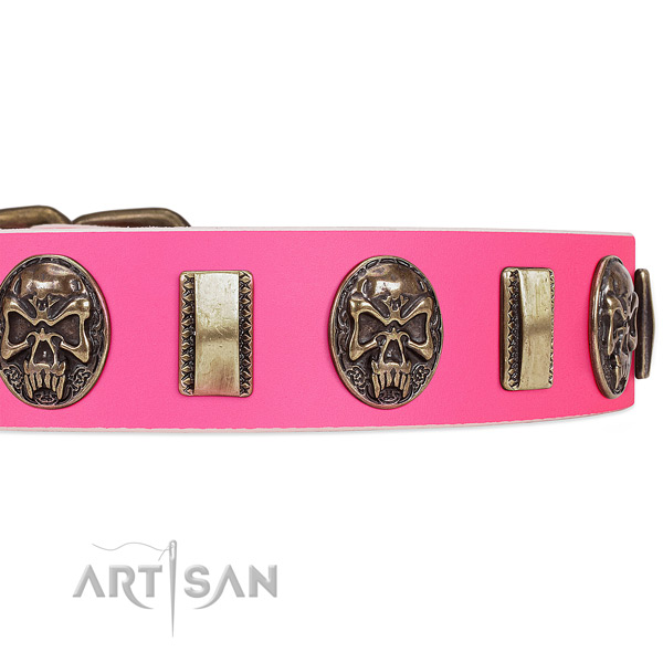 Rust resistant buckle on full grain natural leather dog collar for your pet