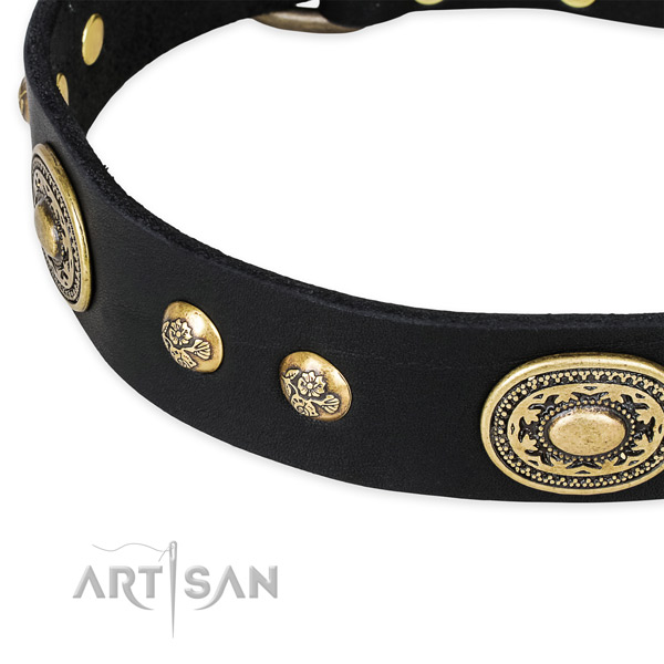 Stylish design full grain leather collar for your lovely pet