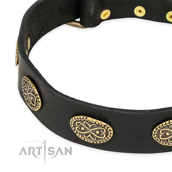 Inimitable full grain genuine leather collar for your beautiful canine