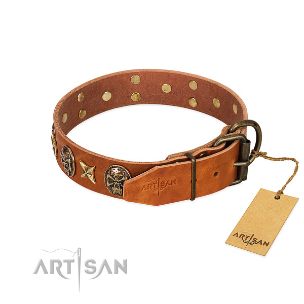 Natural genuine leather dog collar with corrosion proof D-ring and studs