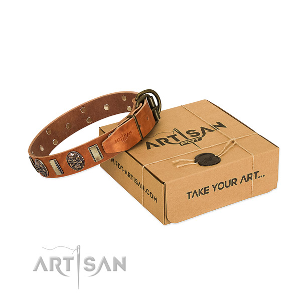 Corrosion proof hardware on genuine leather dog collar for easy wearing