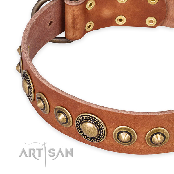 Soft full grain genuine leather dog collar made for your lovely four-legged friend