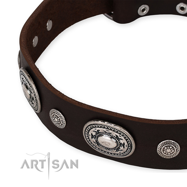 Top rate natural genuine leather dog collar handmade for your handsome four-legged friend