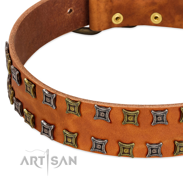 Gentle to touch genuine leather dog collar for your attractive pet