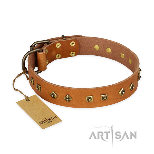Top quality full grain genuine leather dog collar with rust resistant hardware