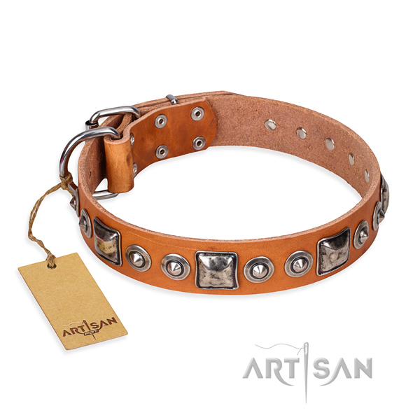 Full grain genuine leather dog collar made of quality material with strong fittings