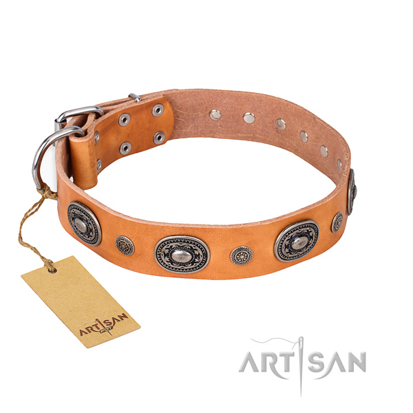 Flexible full grain genuine leather collar created for your four-legged friend