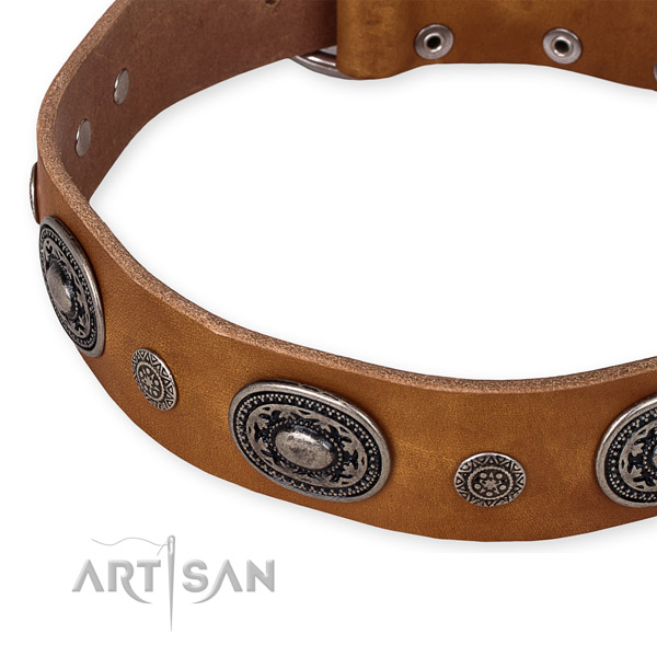 Gentle to touch natural genuine leather dog collar created for your attractive pet