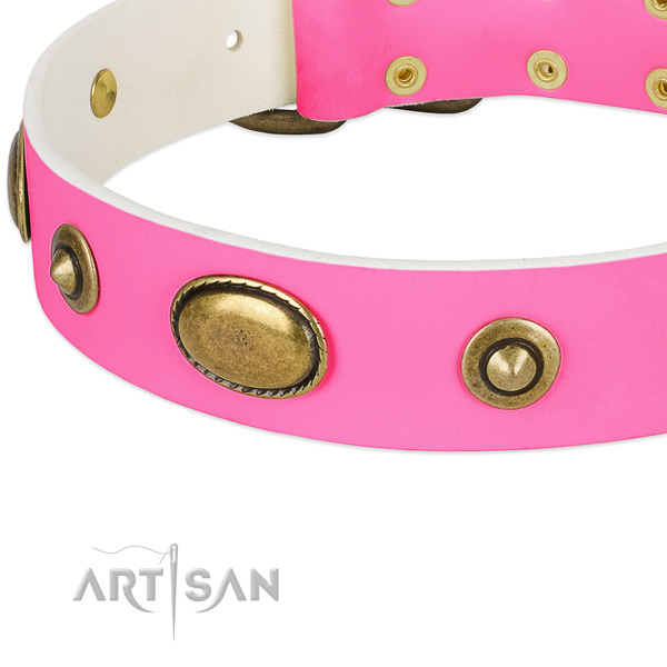 Reliable fittings on full grain genuine leather dog collar for your canine