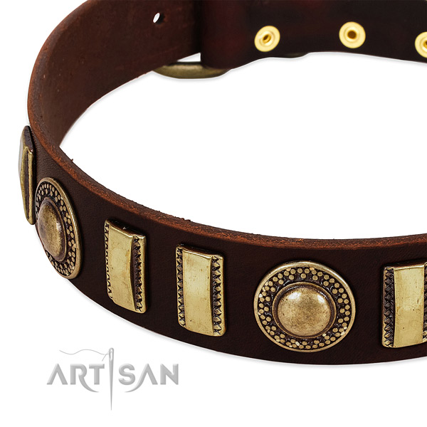 Soft genuine leather dog collar with strong fittings