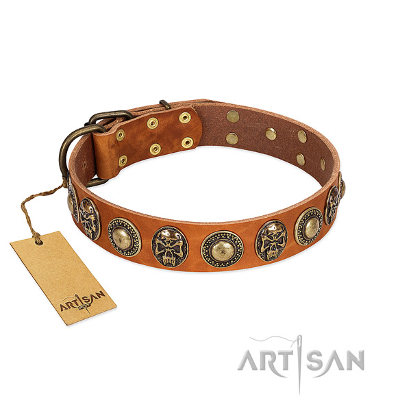 Easy adjustable full grain natural leather dog collar for walking your pet
