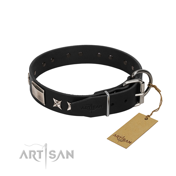 Best quality leather dog collar with durable hardware