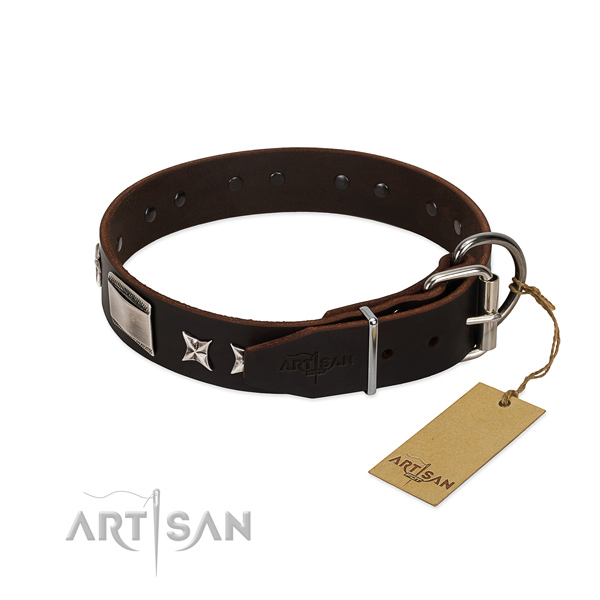 Handcrafted collar of natural leather for your beautiful pet