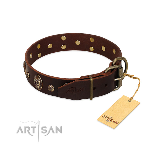 Reliable hardware on full grain genuine leather dog collar for your dog