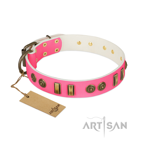 Perfect fit full grain natural leather collar for your four-legged friend