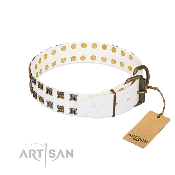 Full grain leather collar with stunning decorations for your doggie