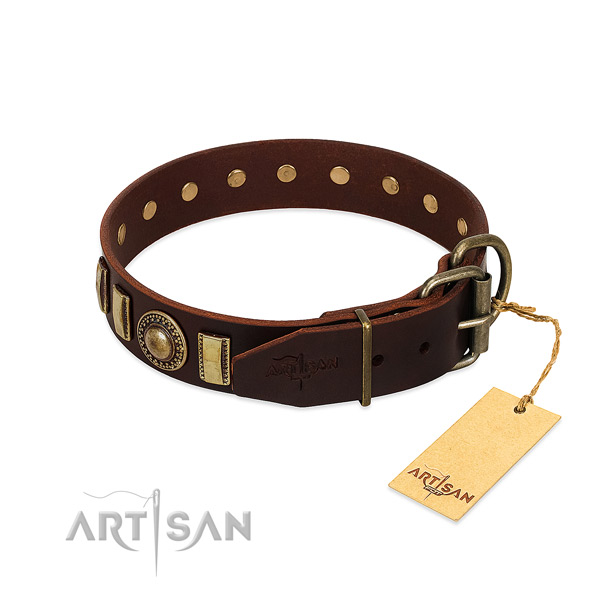 Stylish design full grain natural leather dog collar with rust-proof hardware