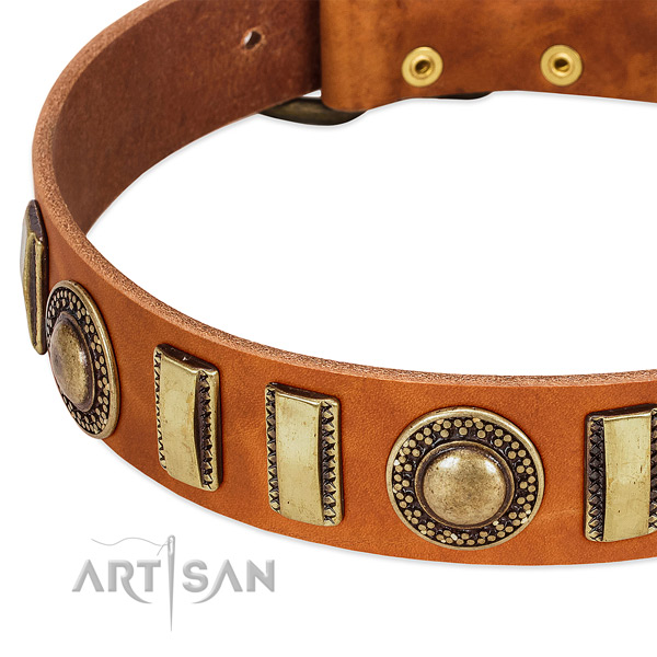 Soft to touch full grain leather dog collar with durable D-ring