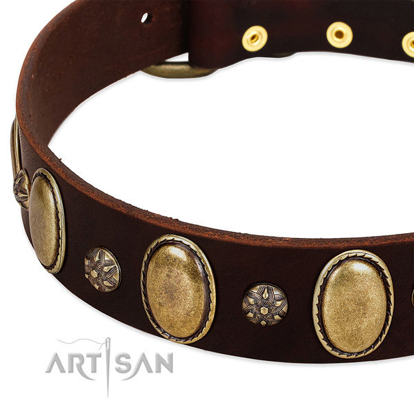Comfortable wearing quality full grain natural leather dog collar