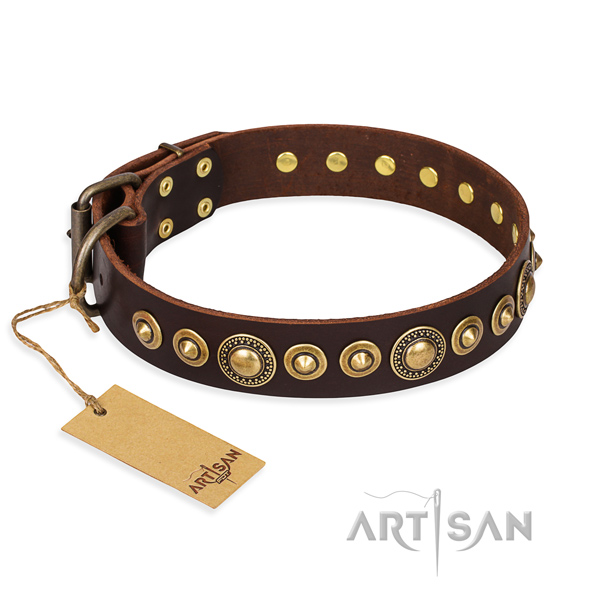 Reliable full grain leather collar crafted for your canine