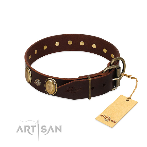 Comfy wearing best quality full grain leather dog collar