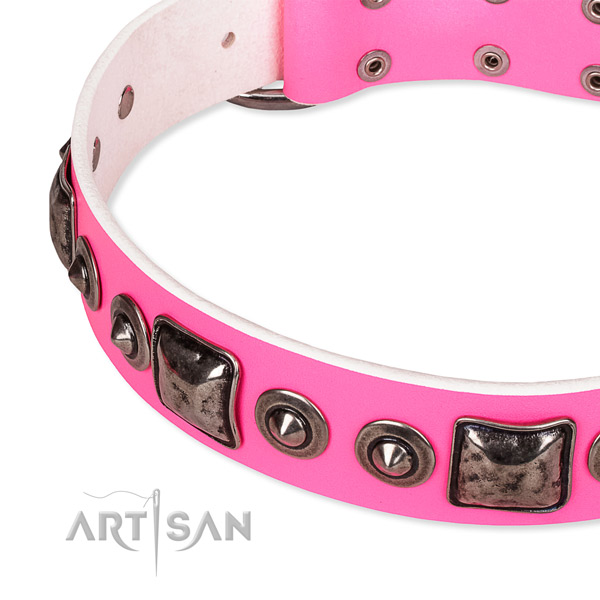 Soft leather dog collar handcrafted for your stylish dog