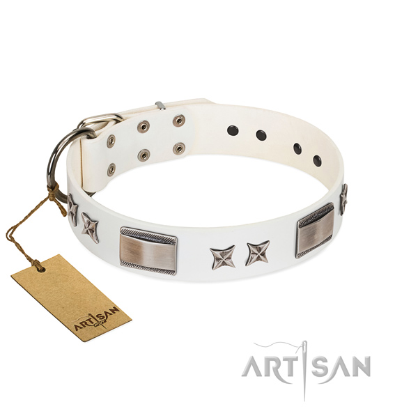 Easy adjustable dog collar of full grain genuine leather