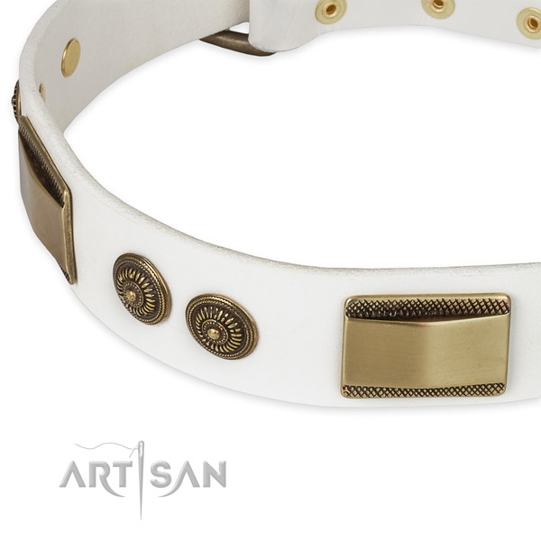 Strong hardware on leather dog collar for your pet