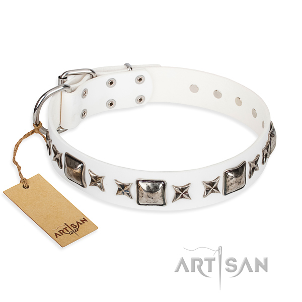 Full grain genuine leather dog collar made of top notch material with reliable hardware