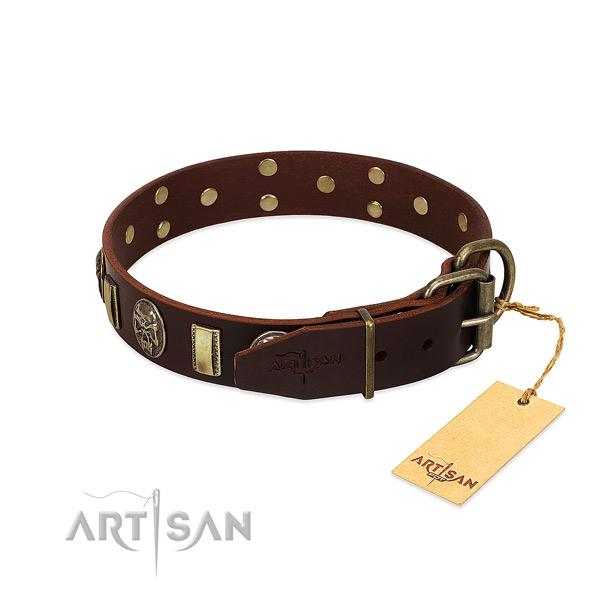 Full grain natural leather dog collar with corrosion proof D-ring and studs
