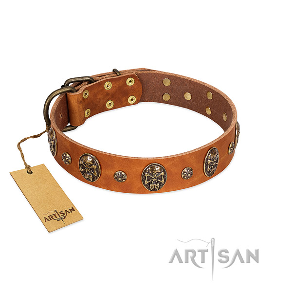 Easy to adjust full grain natural leather collar for your doggie