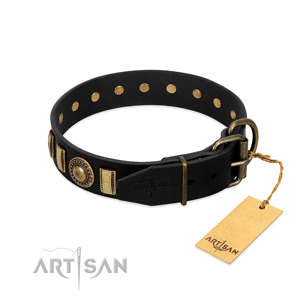 Soft genuine leather dog collar with adornments