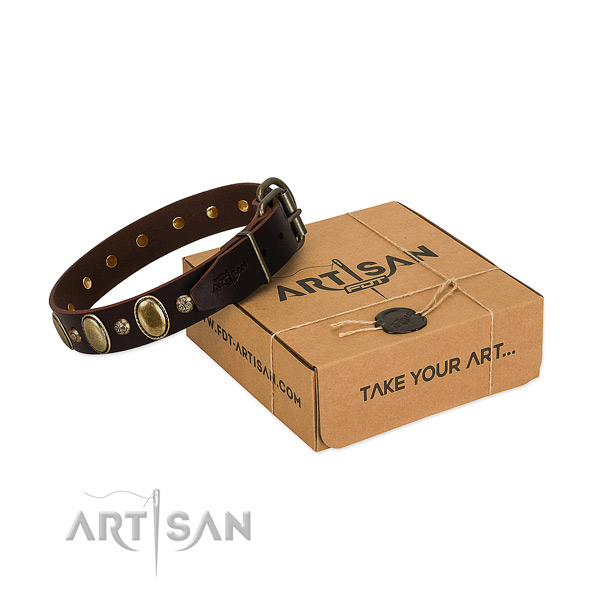 Significant natural leather dog collar with rust resistant traditional buckle