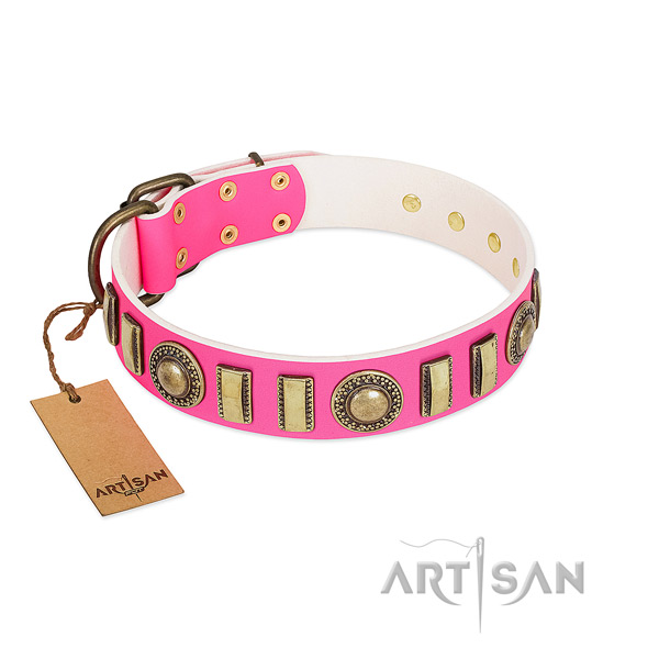 Fashionable genuine leather dog collar with strong buckle