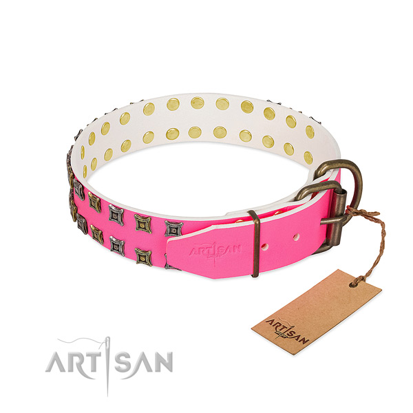 Full grain natural leather collar with inimitable adornments for your four-legged friend