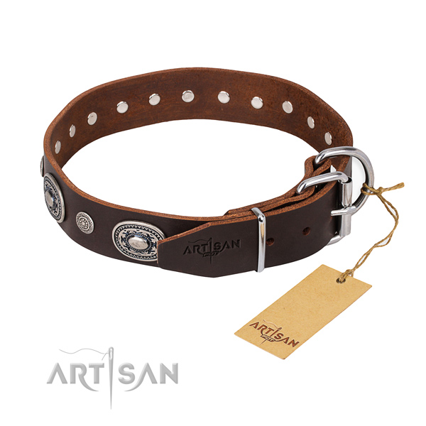 Top rate full grain natural leather dog collar handmade for fancy walking