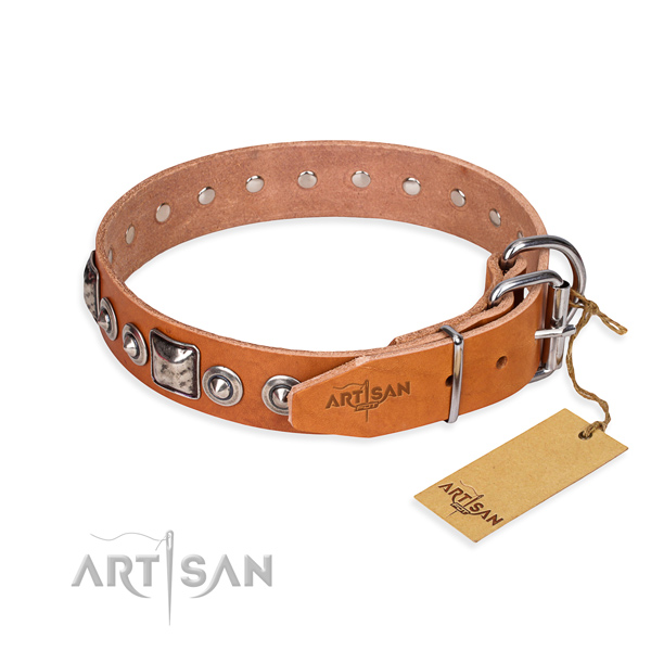 Leather dog collar made of gentle to touch material with corrosion proof adornments