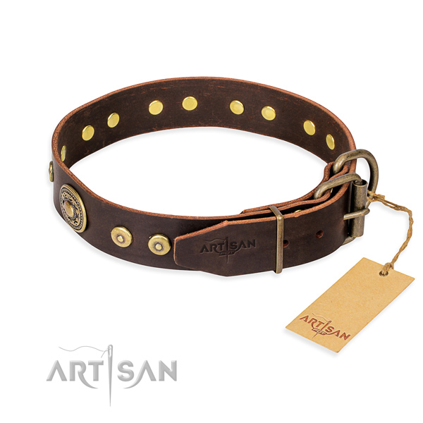 Natural genuine leather dog collar made of reliable material with durable embellishments