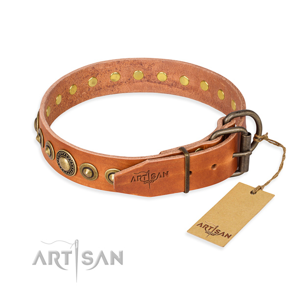 Durable genuine leather dog collar handcrafted for everyday use