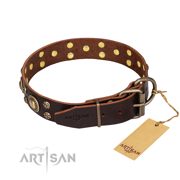 Easy wearing embellished dog collar of top quality leather