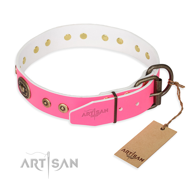 Full grain leather dog collar made of soft material with corrosion proof adornments