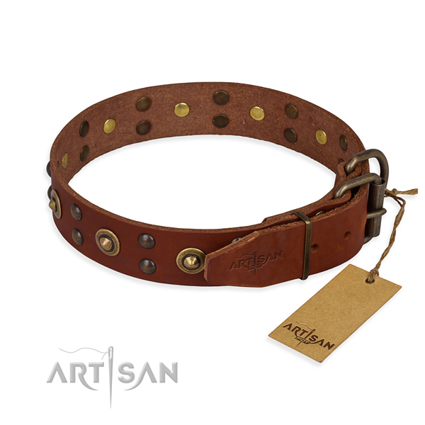 Corrosion proof fittings on full grain natural leather collar for your lovely doggie