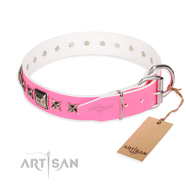 Top quality embellished dog collar of genuine leather