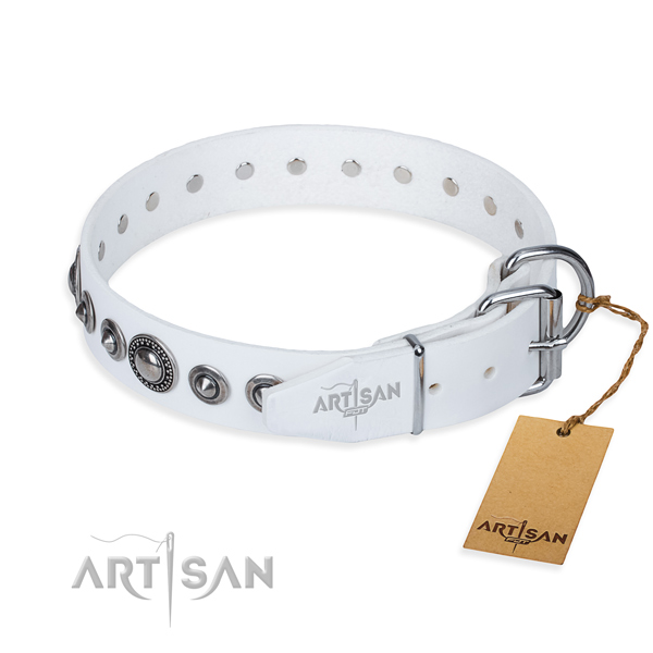 Full grain genuine leather dog collar made of top notch material with reliable studs